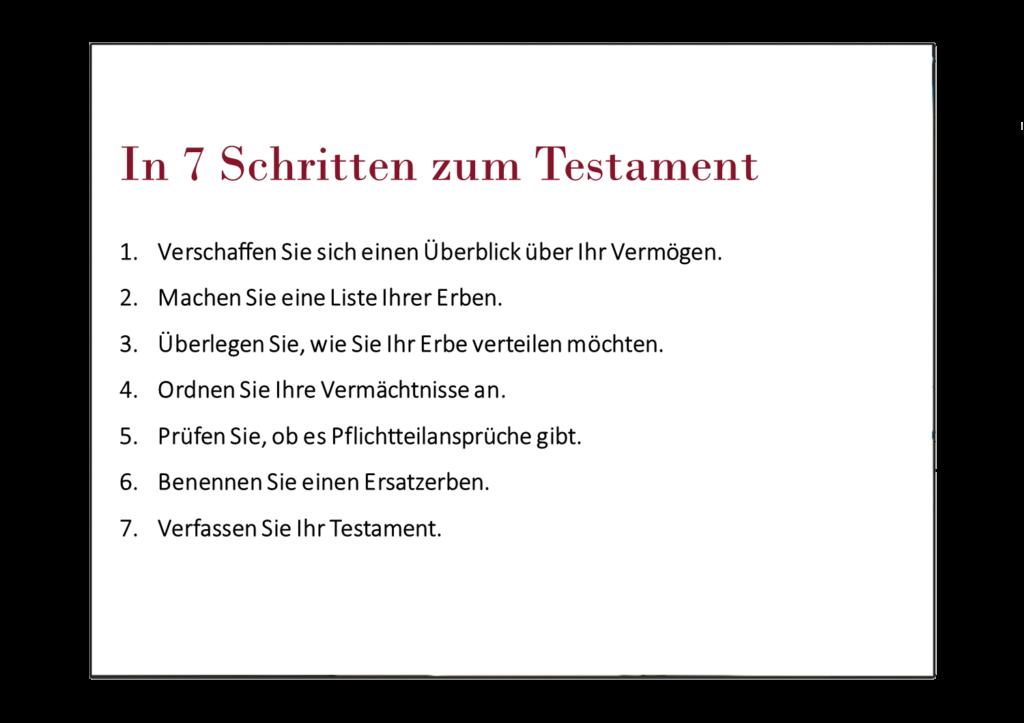 In 7 Schritten zum Testament